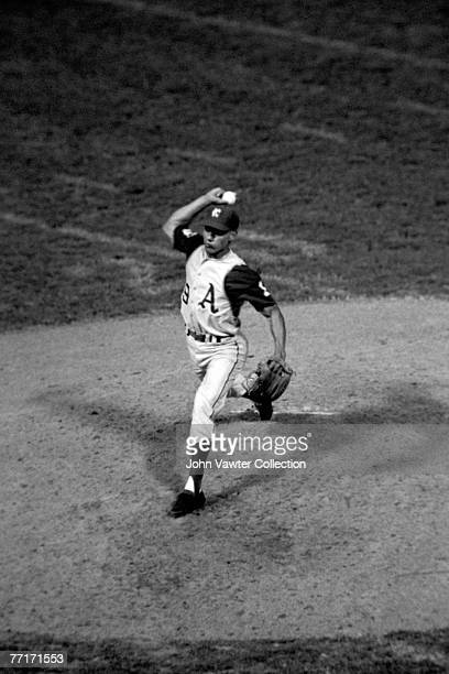 Bert Campaneris of the Kansas City A's throws a pitch in the eigth inning as he plays all nine positions during a game on September 8 1965 against...