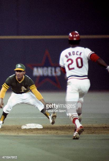 Bert Campaneris of the Oakland Athletics and the American League AllStars takes the throw at second base on an attempted steal by Lou Brock of the St...