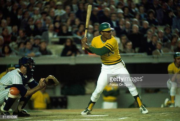 Bert Campaneris of the Oakland Athletics swings against the New York Mets during the World Series at Shea Stadium in Flushing New York in October of...
