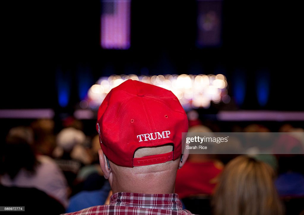 Bert Corrigan, of Smithfield, Maine, waits for Republican Presidential candidate Donald Trump to speak at the Merrill Auditorium on August 4, 2016 in Portland, Maine. 'You can't run a campaign against an opponent on character traits,' he said. 'My wife and I have been married for 46 years and trust me, we both have character traits you could write about.'