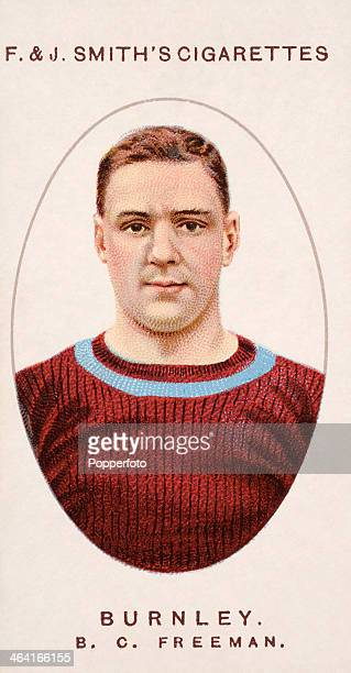 Bert Freeman of Burnley FC featured on a vintage cigarette card published in London circa 1917