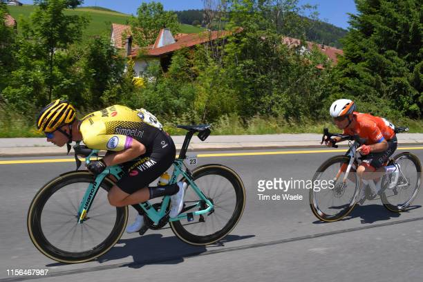 Bert Jan Lindeman of The Netherlands and Team Jumbo - Visma / Ryan Anderson of Canada and Team Rally UHC Cycling / during the 83rd Tour of...