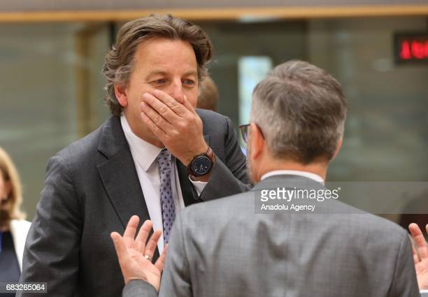 Bert Koenders Minister of Foreign Affairs of the Netherlands attends the EU Foreign Affairs Ministers meeting at the EU headquarters in Belgium...