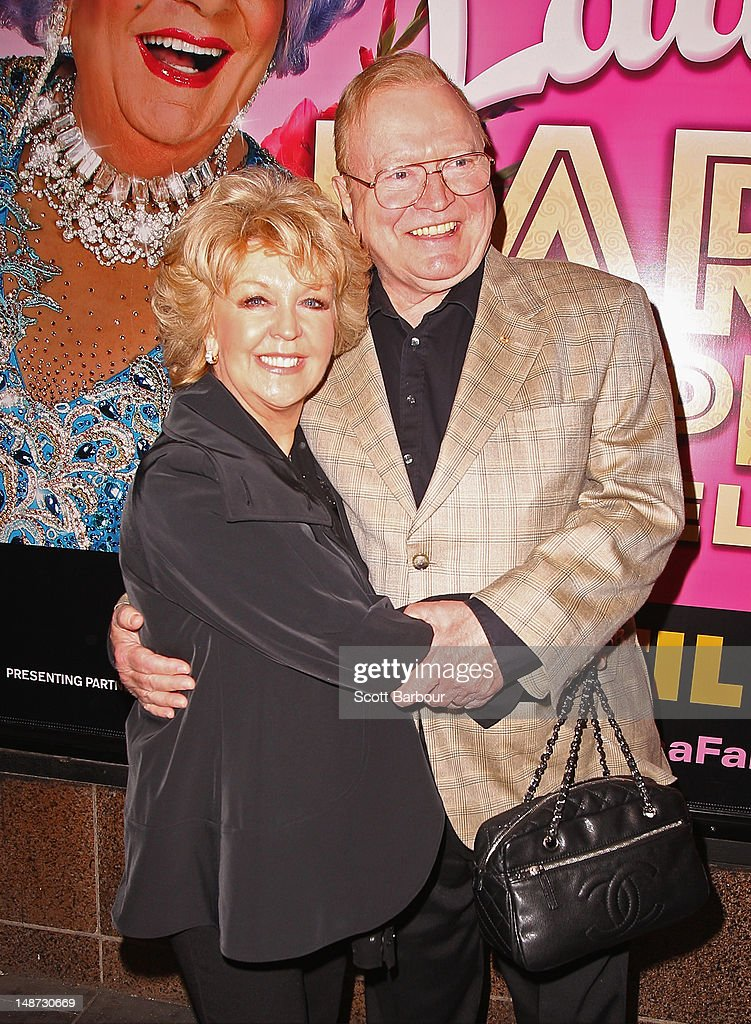 Bert Newton and Patti Newton arrive at the opening night of Barry Humphries' Eat, Pray, Laugh show show at Her Majestys Theatre on July 19, 2012 in Melbourne, Australia.