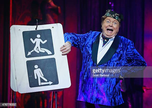 Bert Newton as the Narrator performs during a 'Rocky Horror Show' Media Call at the Comedy Theatre on June 12 2015 in Melbourne Australia