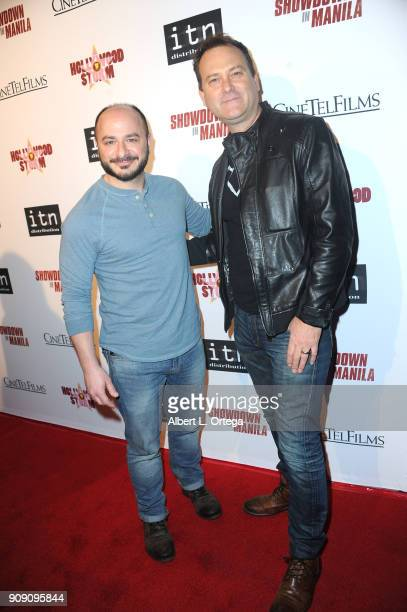Bert Rotundo and composer Sean Murray arrive for the Premiere Of ITN Distribution's Showdown In Manila held at Laemmle's Ahrya Fine Arts Theatre on...