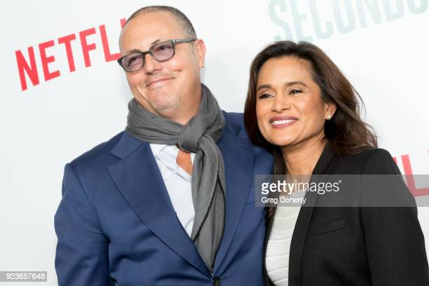 Bert Salke and Veena Sud attend the Premiere Of Netflix's 'Seven Seconds' at The Paley Center for Media on February 23 2018 in Beverly Hills...