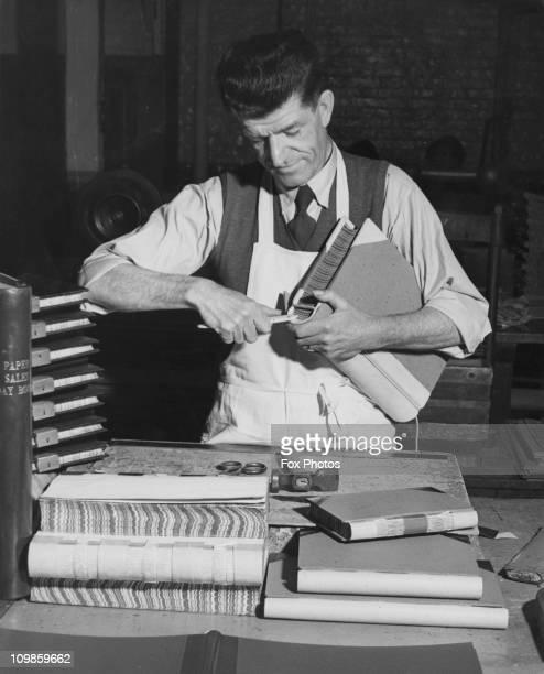 Bert Sells a bookbinder at the paper firm John Dickinson of Hemel Hempstead in Hertfordshire February 1950 He began his apprenticeship in 1912