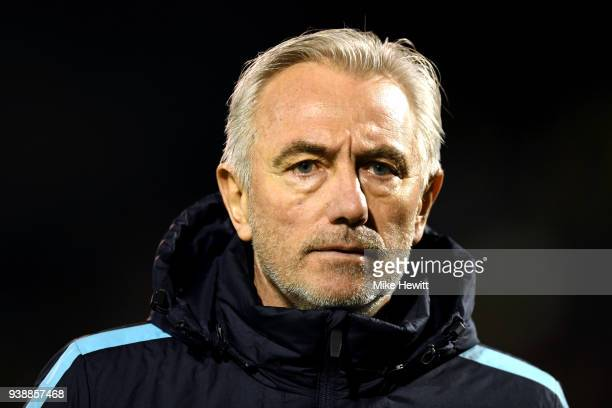 Bert van Marwijk Head coach of Australia looks on prior to the International friendly between Australia and Colombia at Craven Cottage on March 27...