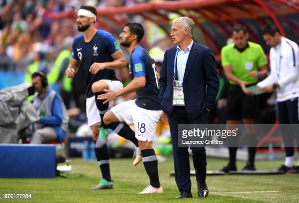 Bert van Marwijk Head coach of Australia looks on while Olivier Giroud and Nabil Fekir get ready to enter during the 2018 FIFA World Cup Russia group...