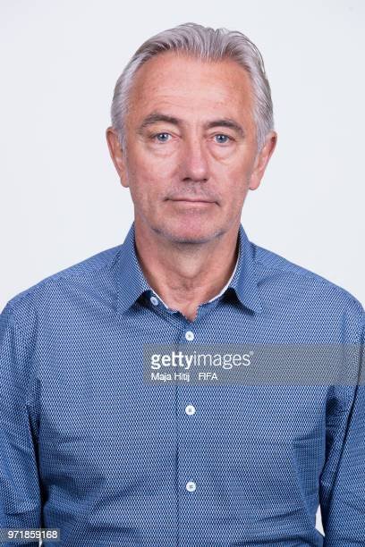 Bert van Marwijk head coach of Australia poses for a portrait during the official FIFA World Cup 2018 portrait session at Trudovyne Rezeny on June 11...