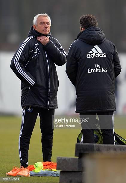 Bert van Marwijk head coach of Hamburg looks on during the training session of Hamburger SV on February 3 2014 in Hamburg Germany