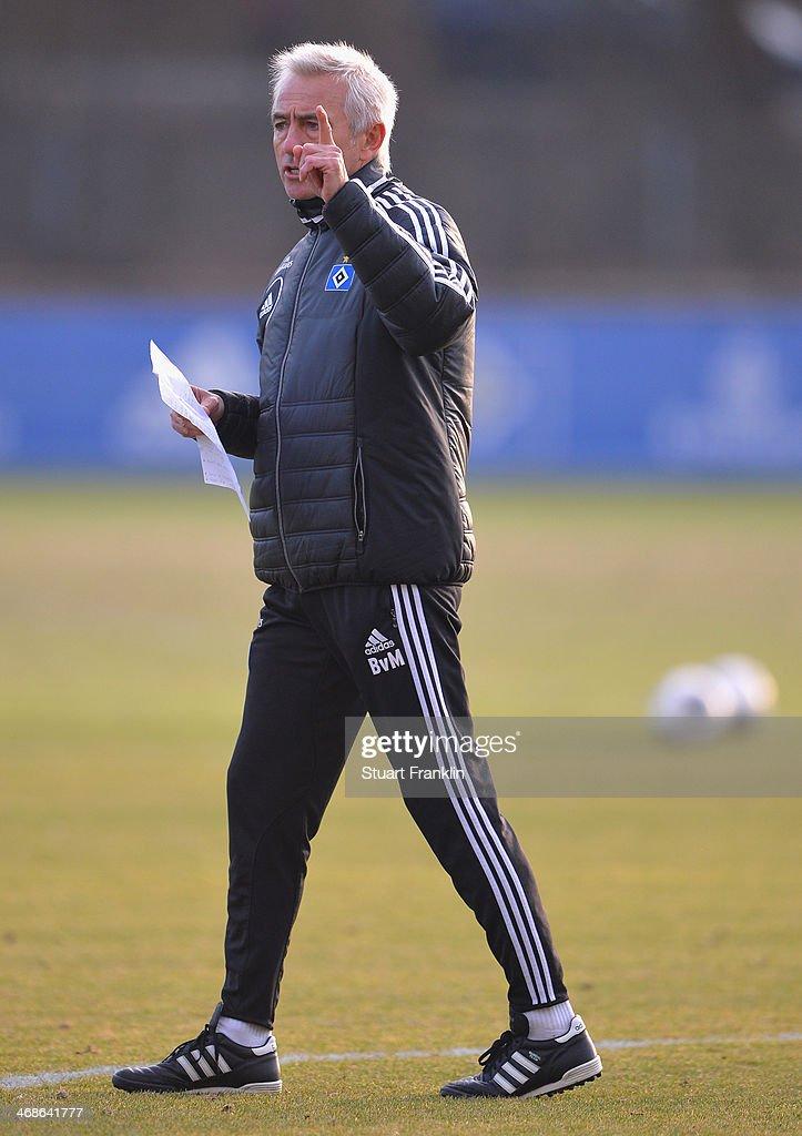 Bert van Marwijk, head coach of Hamburger SV gestures during the training session of Hamburger SV on February 11, 2014 in Hamburg, Germany.