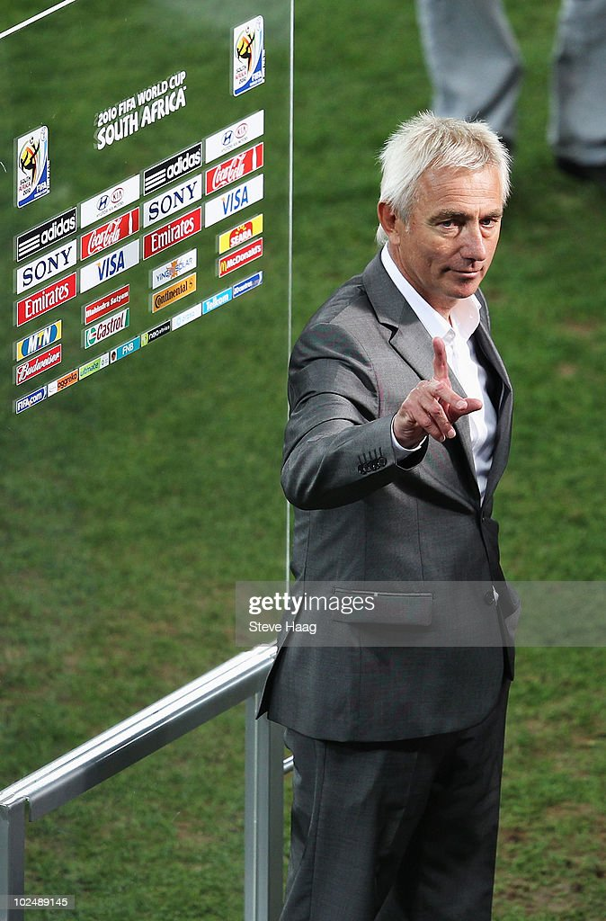 Bert van Marwijk head coach of the Netherlands celebrates victory following the 2010 FIFA World Cup South Africa Round of Sixteen match between Netherlands and Slovakia at Durban Stadium on June 28, 2010 in Durban, South Africa.