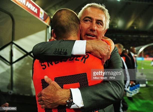 Bert van Marwijk head coach of the Netherlands embraces goalscorer Wesley Sneijder of the Netherlands after the 2010 FIFA World Cup South Africa...