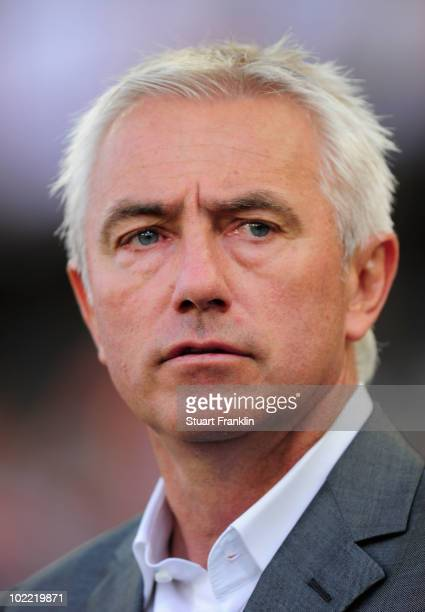 Bert van Marwijk head coach of the Netherlands looks on prior to during the 2010 FIFA World Cup South Africa Group E match between Netherlands and...