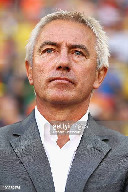 Bert van Marwijk head coach of the Netherlands looks thoughtful ahead of the 2010 FIFA World Cup South Africa Quarter Final match between Netherlands...