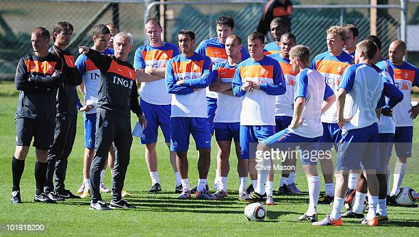 Bert Van Marwijk the coach of Netherlands talks to his players during a training session at the Wits Stadium on June 9 2010 in Johannesburg South...