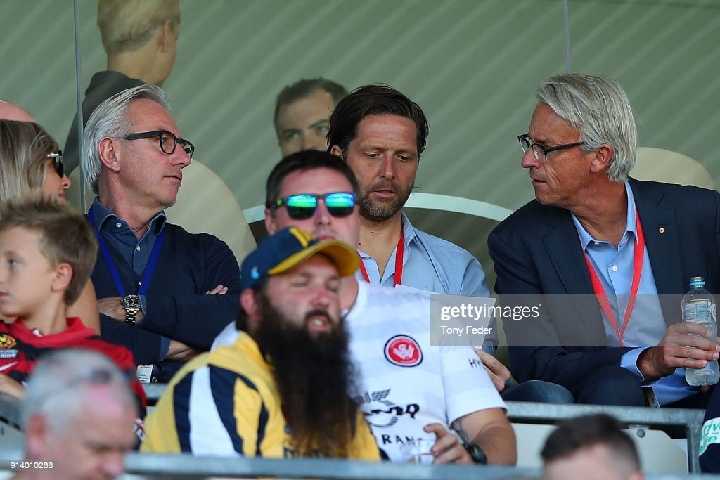 Bert van marwijk the New Socceroos coach with David Gallop Chief Executive of the FFA during the round 19 A-League match between the Central Coast Mariners and the Western Sydney Wanderers at Central Coast Stadium on February 4, 2018 in Gosford, Australia.