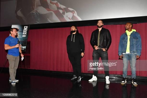 Bert Weiss Steven Caple Jr Florian Munteanu and Michael B Jordan speak onstage during Creed 2 Atlanta screening at Regal Atlantic Station on November...