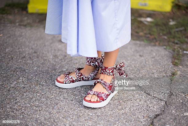Berta Alvarez poses wearing Bimba y Lola shoes before the Diesel Black Gold show during Milan Fashion Week Spring/Summer 2017 on September 23 2016 in...