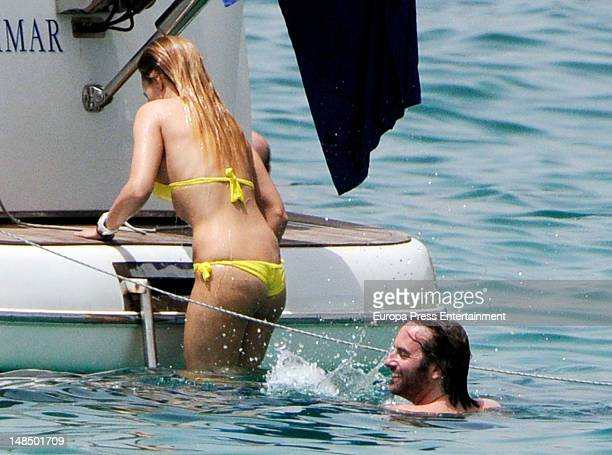 Berta Collado and boyfriend are seen on July 17 2012 in Ibiza Spain