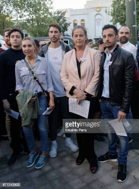 Berta Collado Pepino Marino Carla Antonelli and Alejandro Amenabar attend a demonstration to support LGTB in Chechenya at Russian embassy in Madrid...