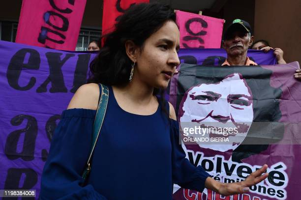 Berta Zuniga Caceres daughter of murdered indigenous environmental activist Berta Caceres speaks with the press during a protest in front of the...