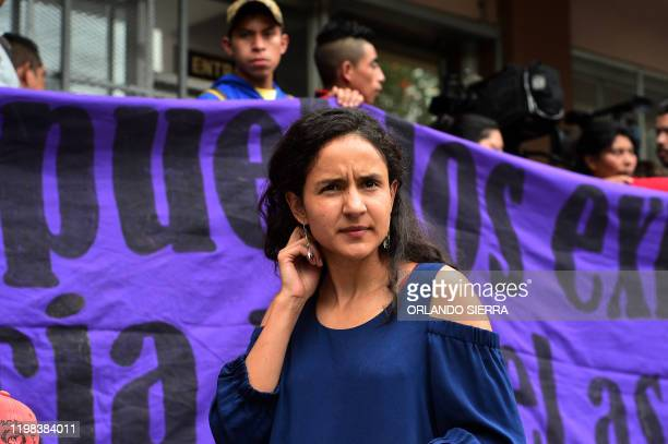 Berta Zuniga daughter of murdered indigenous environmental activist Berta Caceres joins a protest in front of the Honduran Public Ministry in...