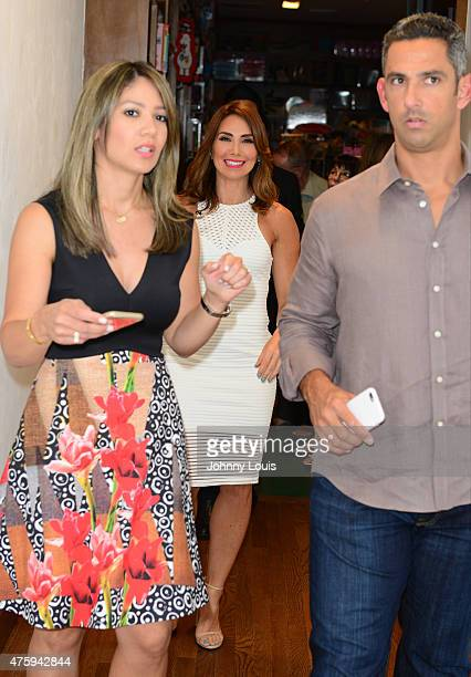 Bertha Diaz Laura Posada and husband Jorge Posada greet fans and signs copies of her book 'La dieta mental' at Books and BooksGables on June 4 2015...