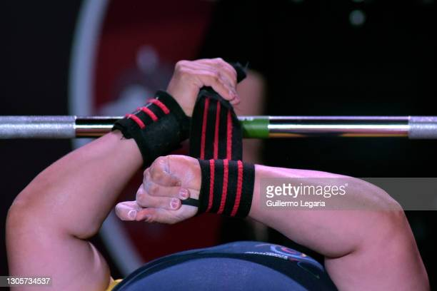 Bertha Fernandez of Colombia fits a wristband as she competes in the women's up to 73 kg category at the Para Powerlifting World Cup on March 06,...