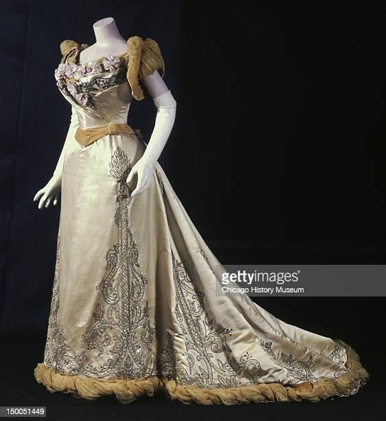 Bertha Palmer's evening dress 1893 Silk satin crepe and velvet metal cord rhinestone and silk flower embroidery by Charles Frederick Worth Evening...