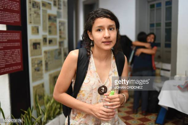 Bertha Zuniga Caceres daughter of the murdered indigenous environmental activist Berta Caceres leaves after a press conference in Guatemala City on...