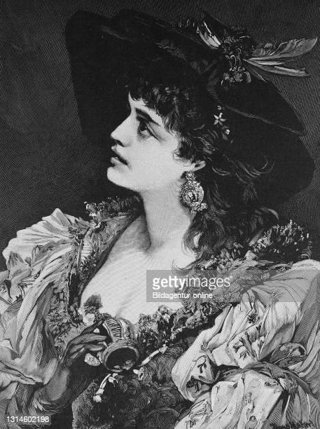 Berthalda, portrait of an attractive dark-haired woman, after a painting by Hans Makart, ca 1887 / Berthalda, Porträt einer attraktiven...