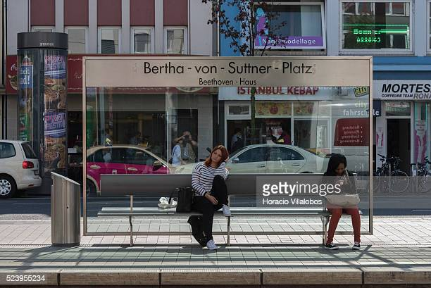 BerthavonSuttnerPlatz/BeethovenHaus tram and subway stop in Oxfordstrasse Bonn Germany 09 September 2014 Bonn that offers many touristic attractions...