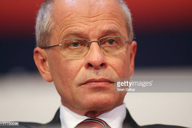 Berthold Huber attends the German labour union IG Metall's annual congress shortly before being elected new chairman November 6 2007 in Leipzig...