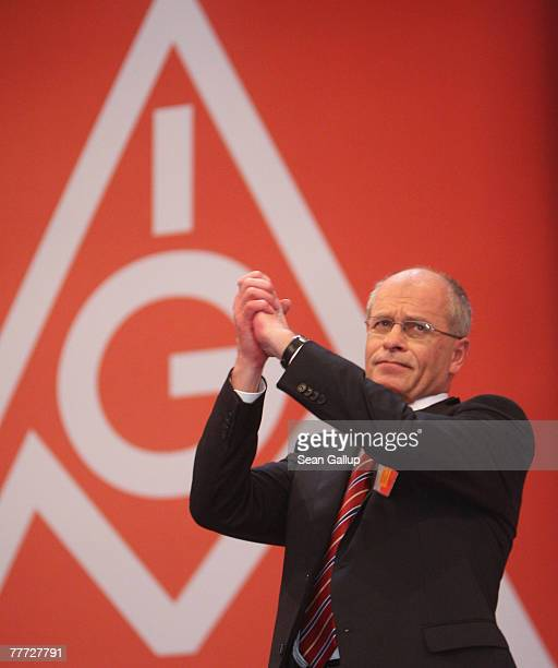 Berthold Huber gestures after his election as new chairman of German labour union IG Metall at the IG Metall annual congress November 6 2007 in...