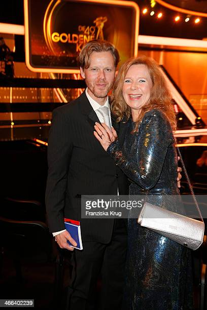 Berthold Manns and Marion Kracht attend the Goldene Kamera 2014 at Tempelhof Airport on February 01, 2014 in Berlin, Germany.