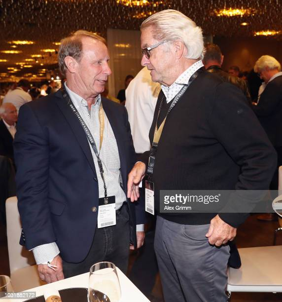 Berti Vogts and Bernd Patzke attend the Club Of Former National Players Meeting during the UEFA Nations League group A match between Germany and...