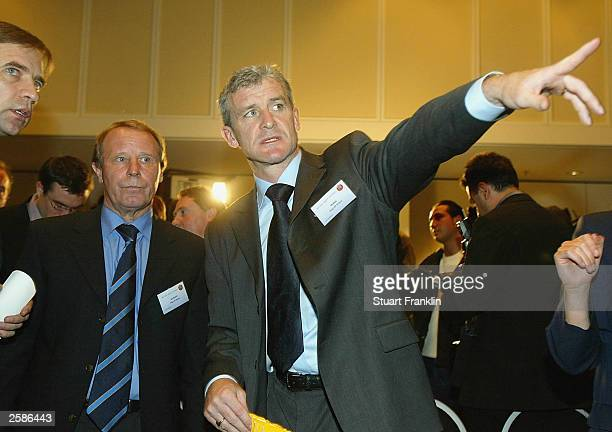 Berti Vogts Manager of Scotland and Mark Hughes Manager of Wales at The European Football Cahmpionship playoff draw at The Sheraton Hotel on October...