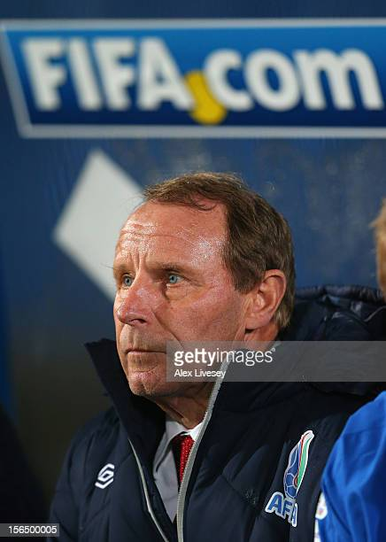 Berti Vogts the coach of Azerbaijan looks on during the FIFA 2014 World Cup Group F Qualifying match between Northern Ireland and Azerbaijan at...
