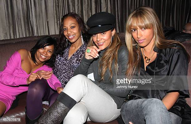 Bertia Barron Sari Baez Capricorn and Chandra Spencer attend the 2008 Rocawear Christmas party at 1Oak on December 11 2008 in New York City