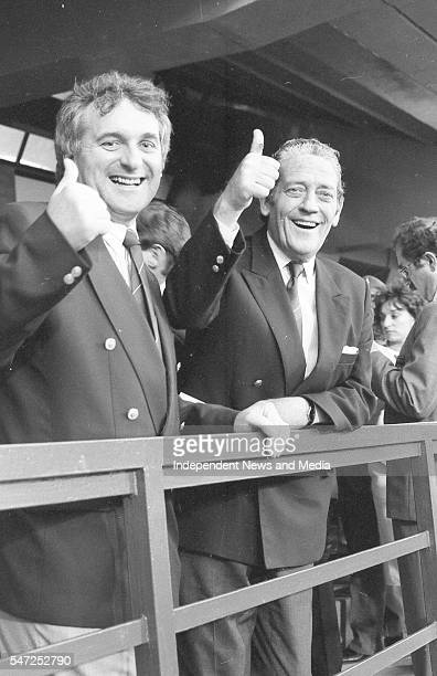 Bertie Ahern and Brian Lenihan give the thumbsup at the World Cup Italia '90 where Republic of Ireland v England in the Stadio Sant'Elia Cagliari The...