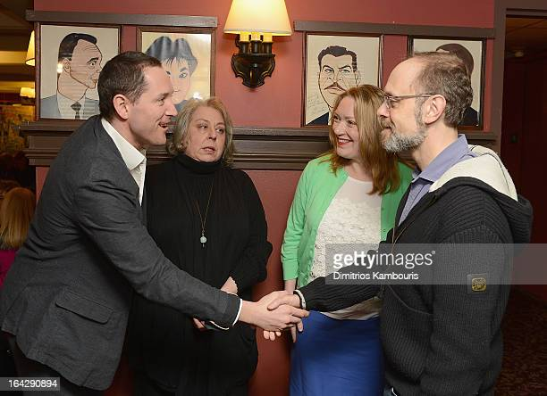 Bertie Carvel Jayne Houdyshell Kristine Nielsen and David Hyde Pierce attend 2013 Drama Desk Panel Discussion 'The Art Of Storytelling' at Sardi's on...