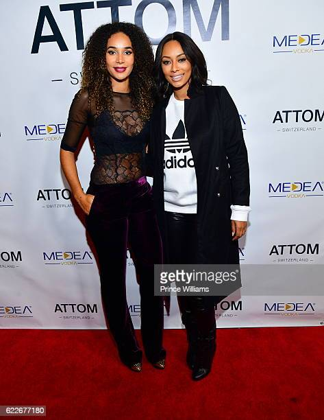 Bertille Sefolosha and Keri Hilson attend the ATTOM Atlanta Store Private Opening on November 11 2016 in Atlanta Georgia