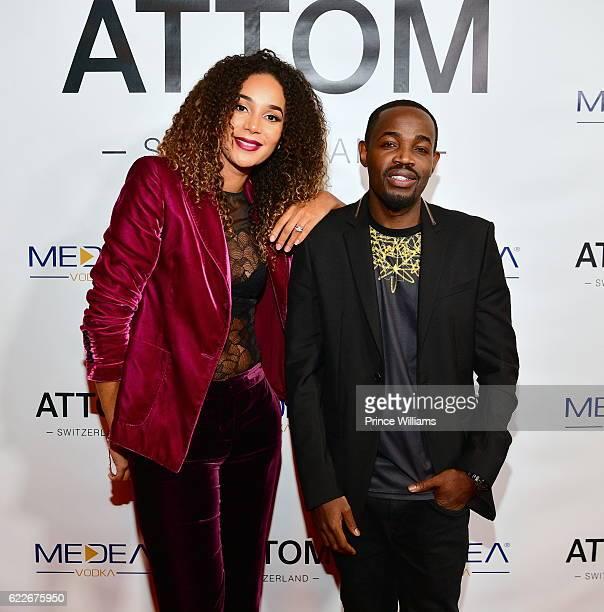 Bertille Sefolosha and Zola Dias attend the ATTOM atlanta Store Private Opening on November 11 2016 in Atlanta Georgia