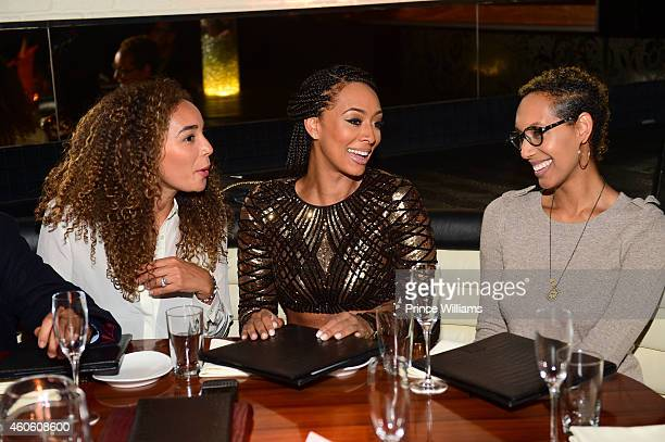 Bertille Sefolosha Keri Hilson and Kaycee Hilson attend Keri Hilson's Birthday dinner at STK on December 8 2014 in Atlanta Georgia