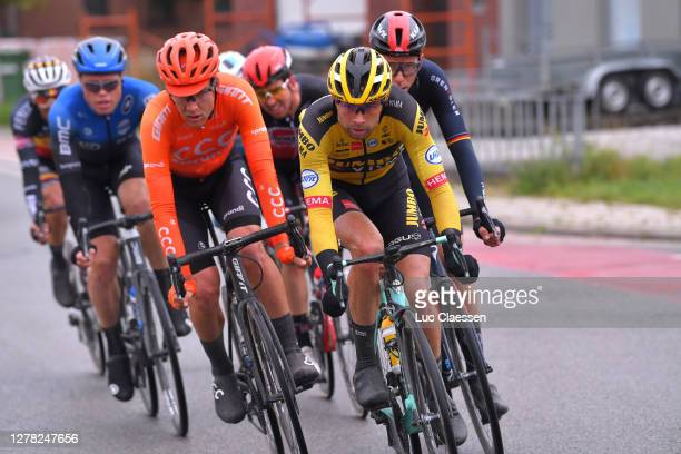 Bertjan Lindeman of The Netherlands and Team Jumbo - Visma / Jonas Koch of Germany and CCC Team / Rasmus Fossum Tiller of Norway and NTT Pro Cycling...