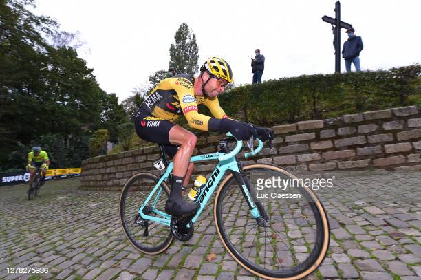 Bertjan Lindeman of The Netherlands and Team Jumbo - Visma / Wall of Geraardsbergen / Mur de Huy / De Muur / Fans / Public / Cobblestones / during...