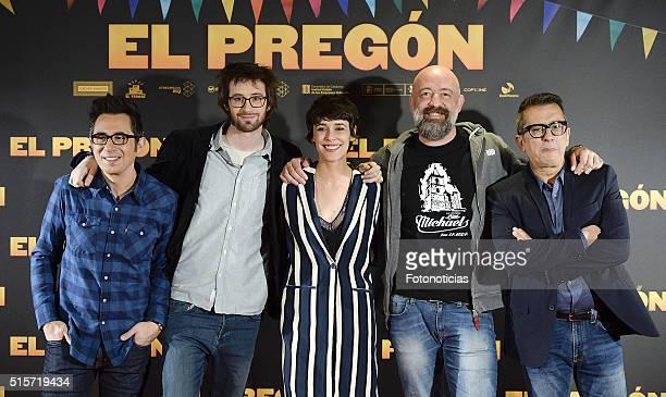 Berto Romero Dani de la Orden Belen Cuesta Goyo Jimenez and Andreu Buenafuente attend 'El Pregon' photocall at the ME hotel on March 15 2016 in...